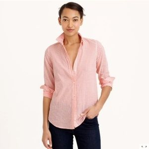 J. Crew Boy shirt in Crinkle Gingham in Pink